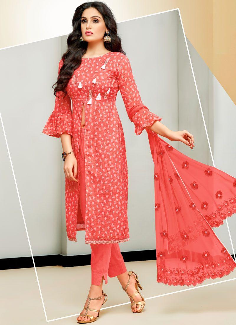 Pink Ceremonial Cotton Satin Designer Pakistani Suit