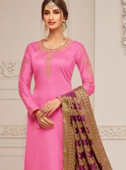 Pink Ceremonial Cotton Silk Churidar Designer Suit