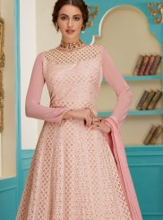 Pink Ceremonial Faux Georgette Floor Length Anarkali Suit