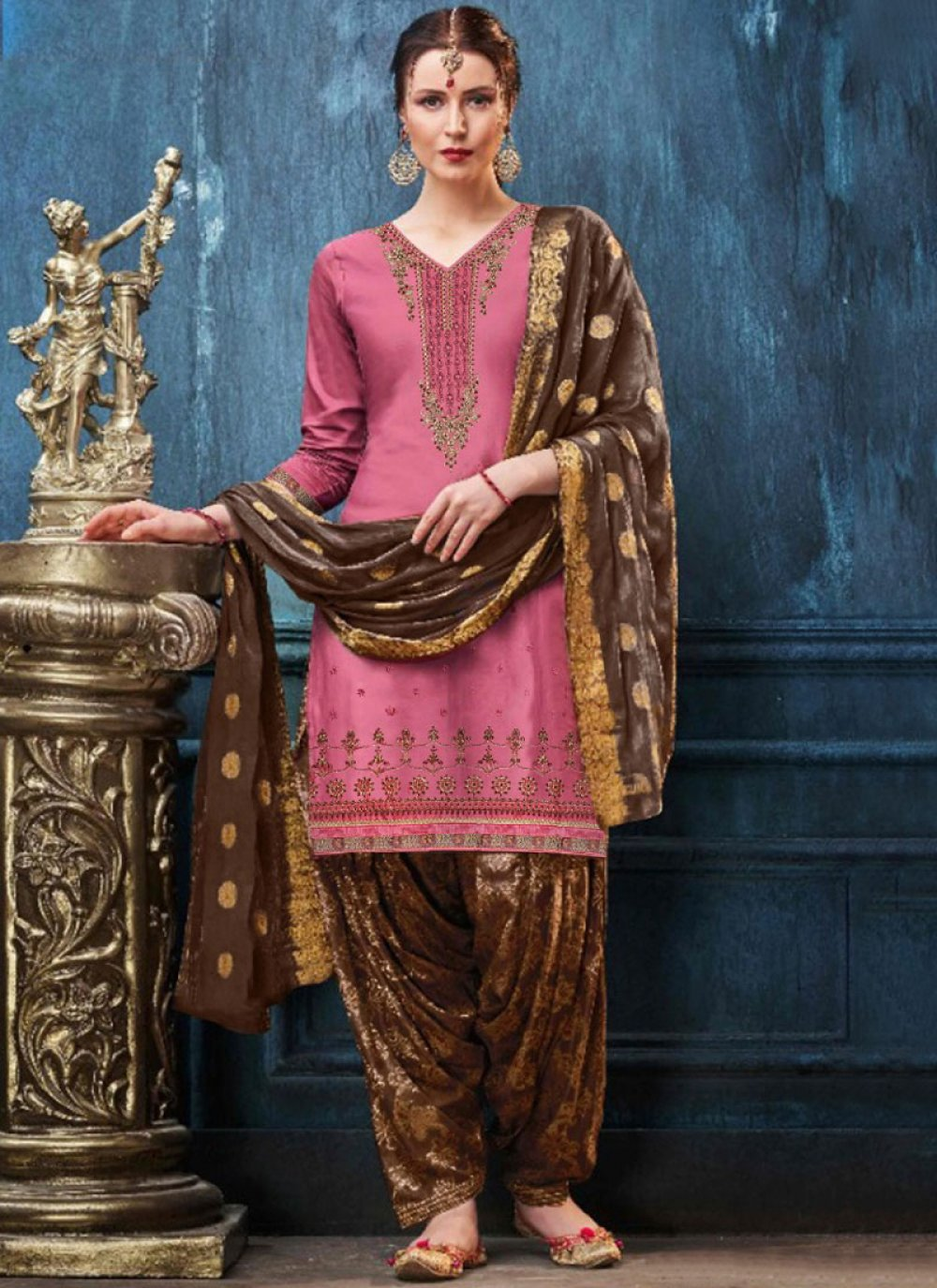 Pink Ceremonial Satin Designer Patiala Suit