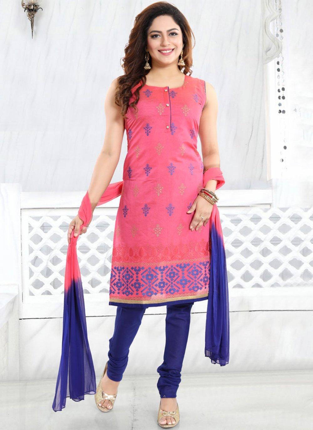 Pink Chanderi Churidar Designer Suit