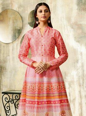 Pink Chanderi Designer Gown
