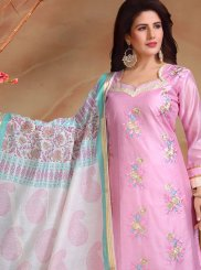 Pink Chanderi Designer Straight Suit