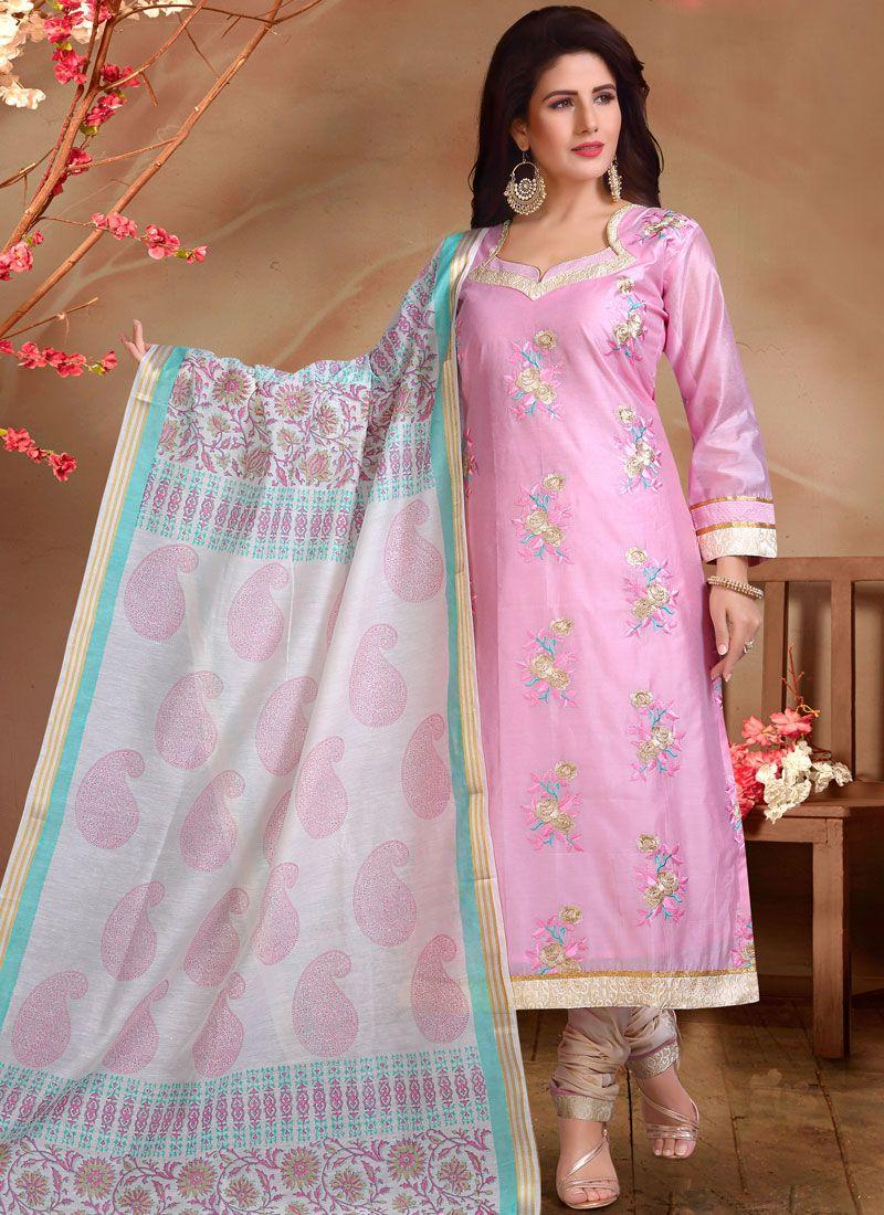 Pink Chanderi Designer Straight Suit