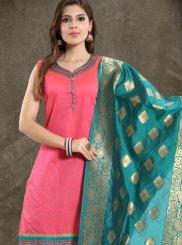 Pink Chanderi Festival Churidar Salwar Suit