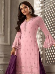 Pink Color Designer Palazzo Suit