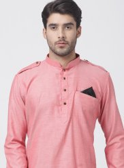 Pink Cotton Reception Kurta