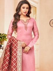 Pink Cotton Silk Designer Straight Suit