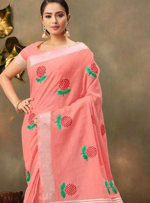 Pink Cotton Trendy Saree