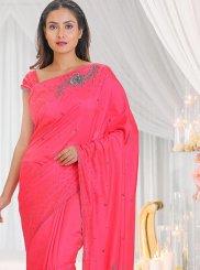 Pink Cutdana Silk Saree
