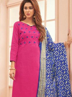 Pink Designer Straight Salwar Kameez