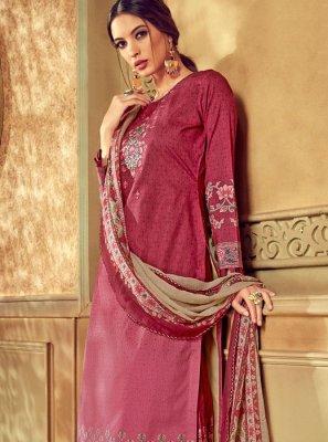 Pink Digital Print Cotton Designer Pakistani Suit