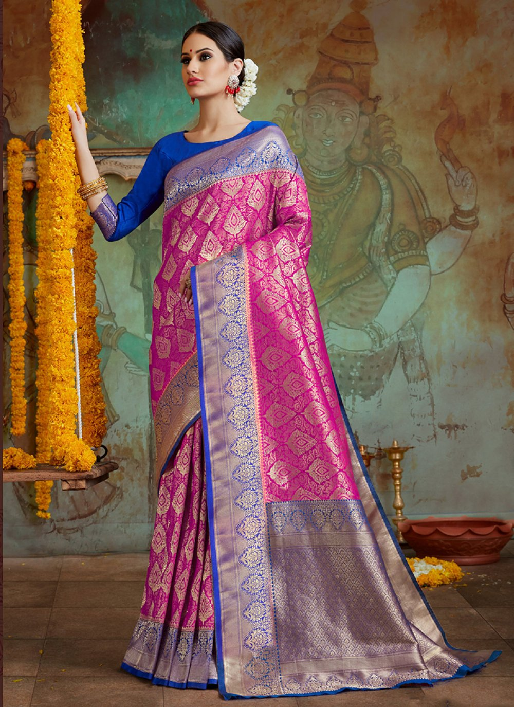 Pink Embroidered Art Silk Classic Designer Saree