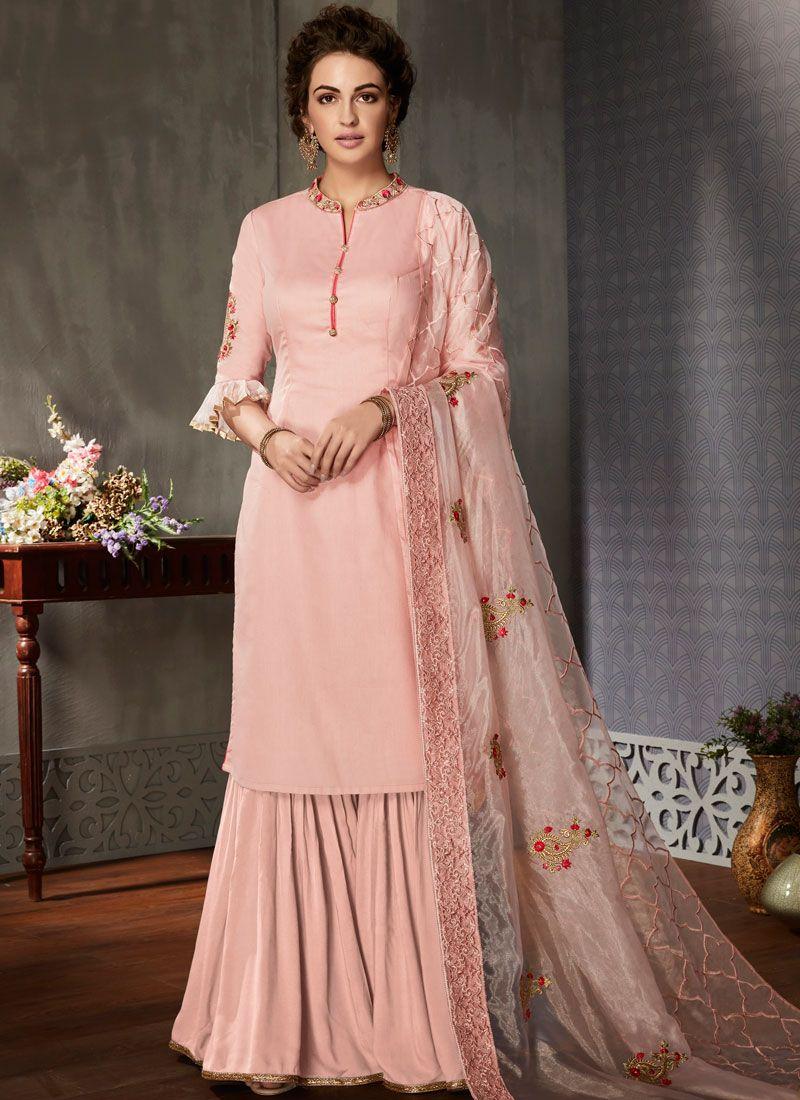 8a72b53edcca Buy Pink Embroidered Art Silk Designer Pakistani Suit : 101944 -