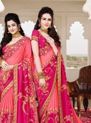 Pink Embroidered Art Silk Designer Saree
