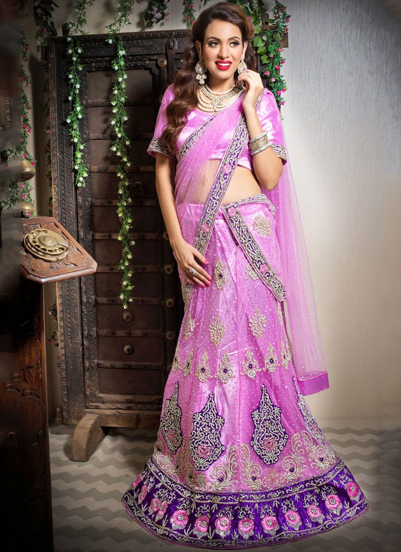 Pink Embroidered Bridal Trendy Lehenga Choli