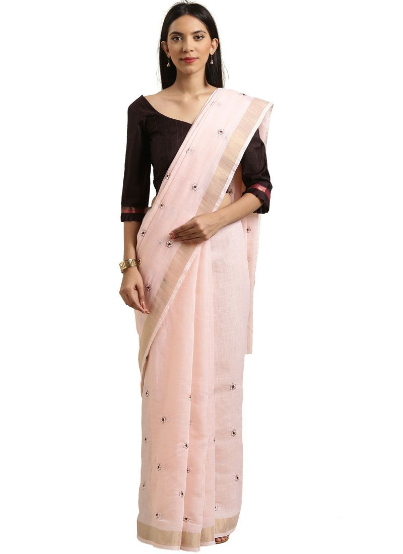 Pink Embroidered Casual Saree