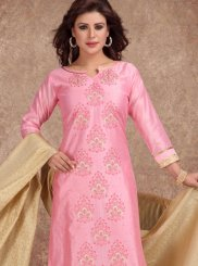 Pink Embroidered Chanderi Churidar Salwar Kameez