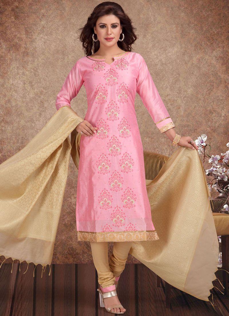 Pink Embroidered Chanderi Churidar Salwar Kameez