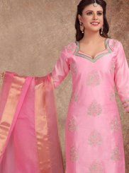 Pink Embroidered Churidar Salwar Kameez