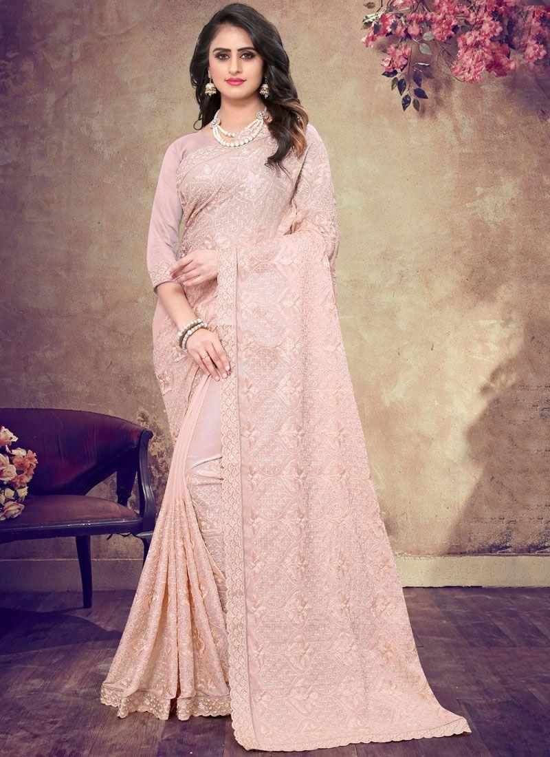 Pink Embroidered Classic Designer Saree