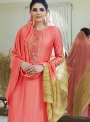 Pink Embroidered Cotton Silk Designer Palazzo Suit