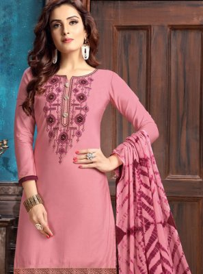 Pink Embroidered Designer Patiala Suit