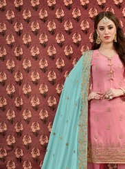 Pink Embroidered Designer Salwar Suit