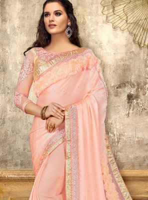 Pink Embroidered Designer Saree