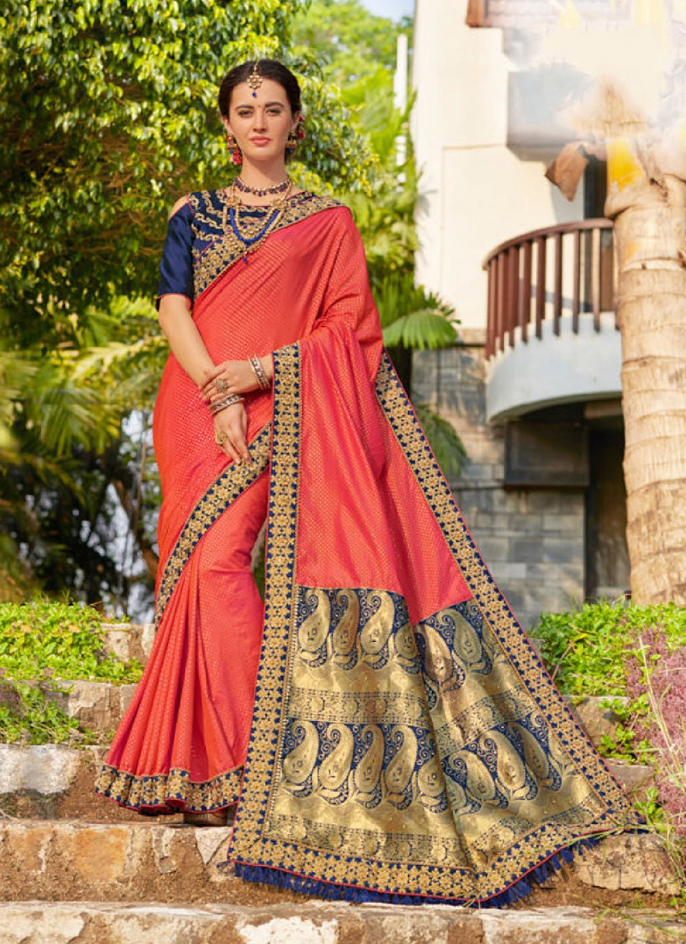 Pink Embroidered Designer Traditional Saree