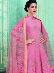 Pink Embroidered Desinger Anarkali Salwar Suit