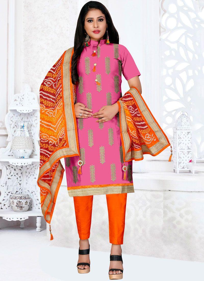 Pink Embroidered Festival Churidar Designer Suit