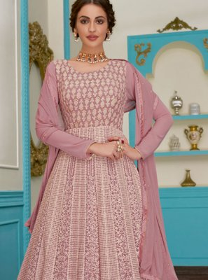 Pink Embroidered Floor Length Anarkali Suit