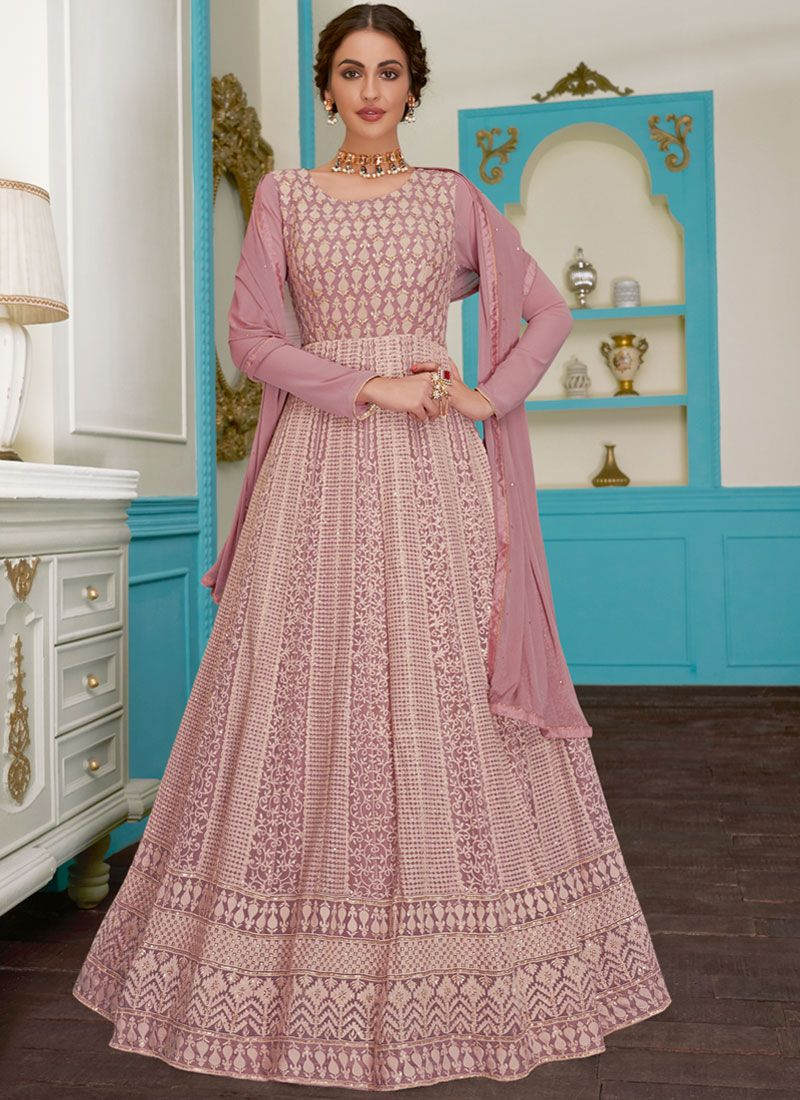 Pink Embroidered Floor Length Anarkali Suit