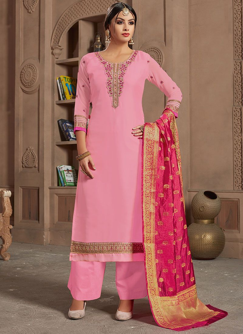 Pink Embroidered Georgette Satin Designer Straight Suit