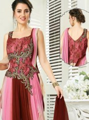 Pink Embroidered Jacquard Readymade Gown