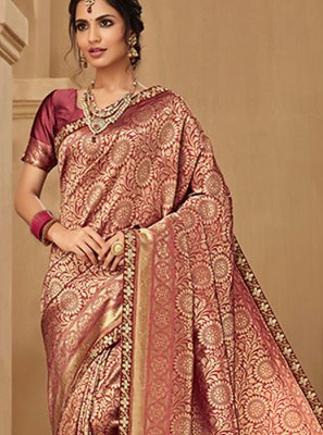 Pink Embroidered Jacquard Silk Classic Saree
