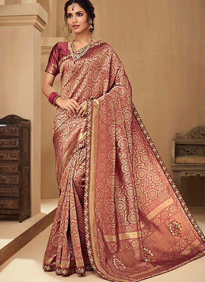 Pink Embroidered Jacquard Silk Classic Saree