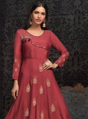Pink Embroidered Muslin Party Wear Kurti