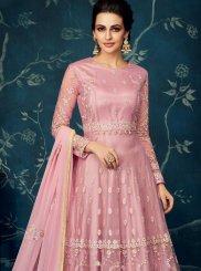 Pink Embroidered Net Anarkali Salwar Kameez