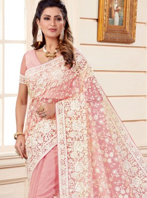 Pink Embroidered Net Classic Designer Saree