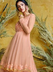 Pink Embroidered Net Floor Length Anarkali Suit