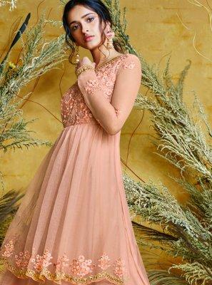Pink Embroidered Net Floor Length Anarkali Suit