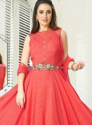 Pink Embroidered Net Readymade Gown