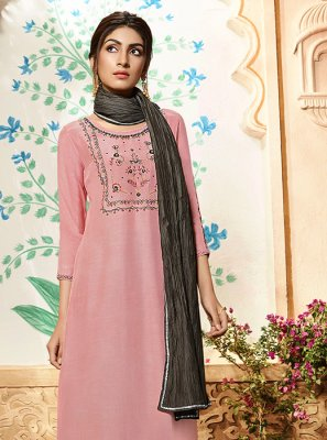 Pink Embroidered Palazzo Salwar Suit