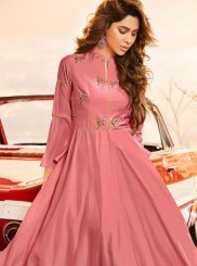 Pink Embroidered Party Wear Kurti