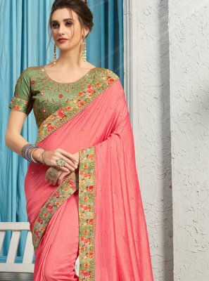 Pink Embroidered Poly Silk Traditional Saree