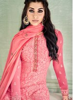 Pink Embroidered Pure Georgette Pant Style Suit