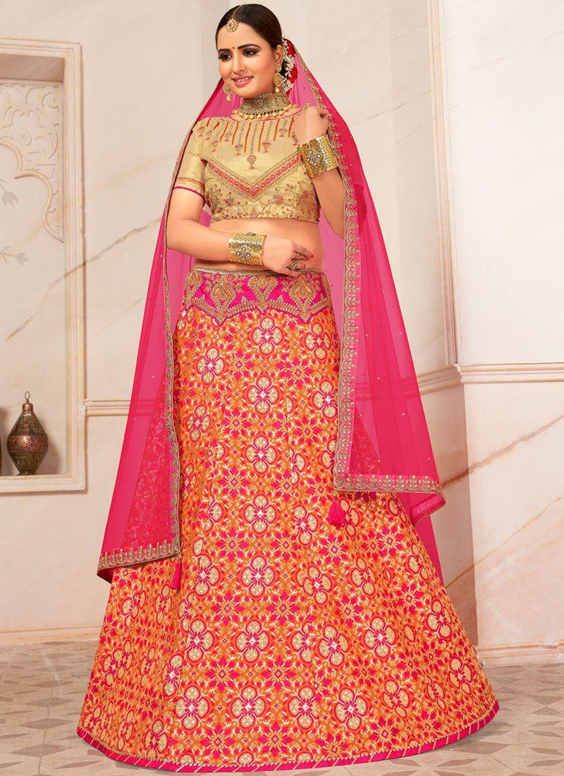 Pink Embroidered Reception A Line Lehenga Choli