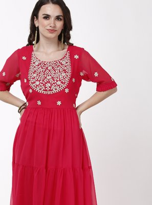 Pink Embroidered Reception Anarkali Salwar Kameez